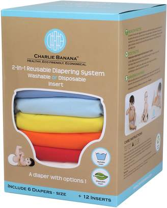 Charlie Banana 6 Reusable Diapers 12 Inserts Set, Unisex