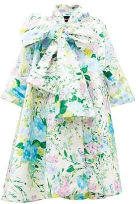 Richard Quinn Floral Print Duchess Satin Coat - Womens - Blue Multi