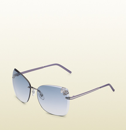 Gucci Medium Butterfly Frame Sunglasses With Small Filigree Butterfly On Lens And Logo On Temples.