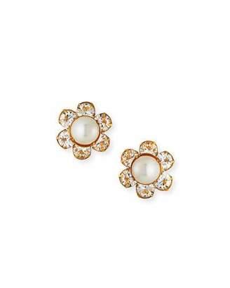 Jennifer Behr Clara Pearly & Crystal Flower Earrings