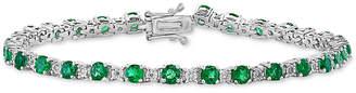 Effy Emerald (3-1/2 ct. t.w.) & Diamond (1/8 ct. t.w.) Link Bracelet in 14k White Gold