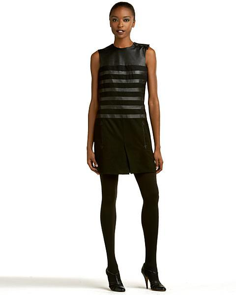 Jean Paul Gaultier Leather-Striped Mini Dress