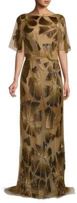 Monique Lhuillier Beaded Column Gown
