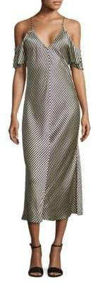 Alexander Wang Cold-Shoulder Striped Silk Midi Dress