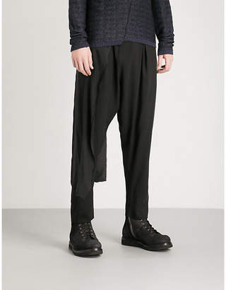 Isabel Benenato Asymmetric relaxed-fit gaberdine trousers