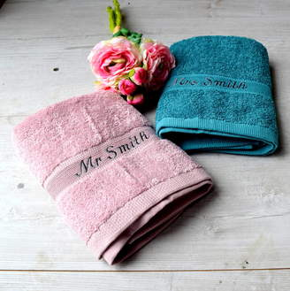 The Alphabet Gift Shop Personalised Dusky Pink And Blue Wedding Towels