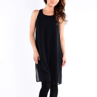 Dex Sleeve Less Long Top with Keyhole at Cb Solid