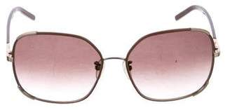 Chloé Leather-Trimmed Square Sunglasses