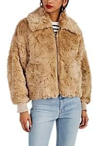 Women's Faux-Fur Oversized Bomber Jacket - Beige, Khaki