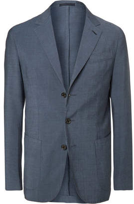 Caruso Navy Slim-Fit Garment-Dyed Wool and Mohair-Blend Suit Jacket