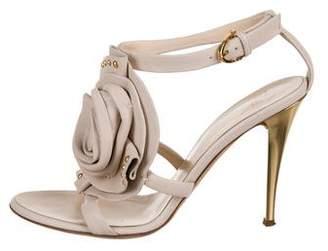 Giuseppe Zanotti Floral Appliqué Ankle Strap Sandals