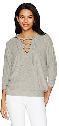 Chaser Women's Love Cloth Lace up Oversized Dolman Hoodie