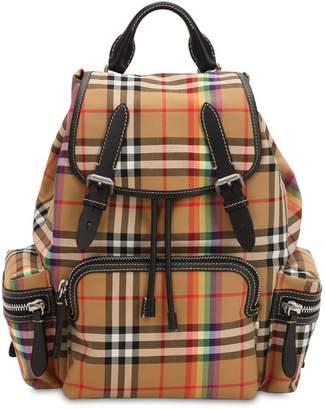Burberry Canvas Check Rainbow Medium Backpack
