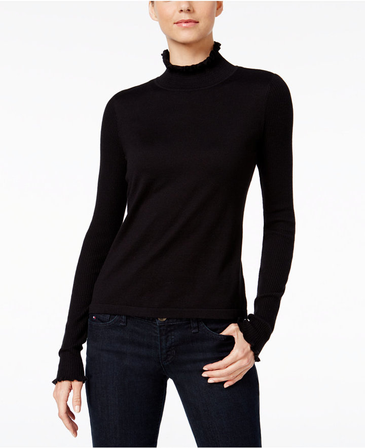 CeCeCeCe Ruffled Turtleneck Sweater