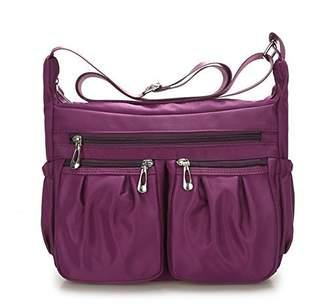 BEKILOLE Nylon Designer Shoulder Bag Crossbody Purse Messenger Multi Pocket Bag Weather Resistant Easy-to-Clean, Blue