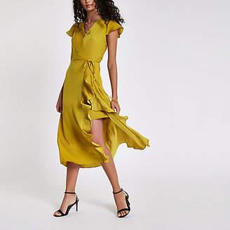 River Island Yellow frill wrap front midi dress