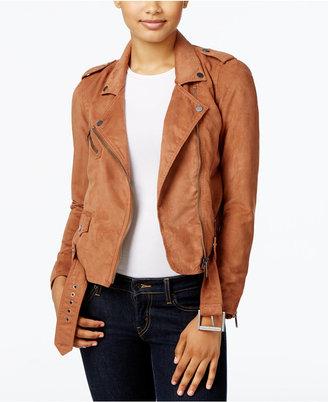 Calvin Klein Jeans Faux-Suede Moto Jacket $168 thestylecure.com