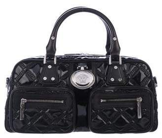 Versace Quilted Patent Leather Medusa Handle Bag
