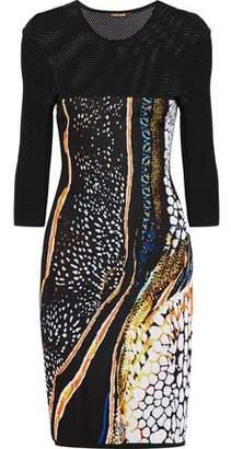 Roberto Cavalli Paneled Open And Jacquard-Knit Dress