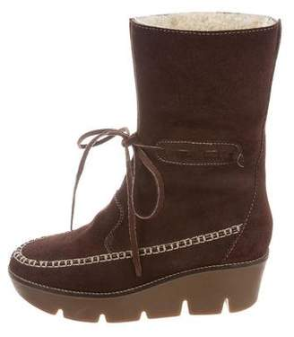 Michael Kors Suede Mid-Calf Wedge Boots