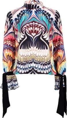 Mary Katrantzou Tie Sleeve Print Top