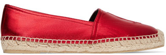 Saint Laurent - Metallic Leather Espadrilles - Red $595 thestylecure.com
