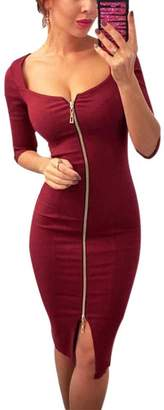 Forart Womens Sexy Dress Front Zip 3/4 Sleeve Split Slit Cut Out Slim Fit Bodycon Midi Dresses
