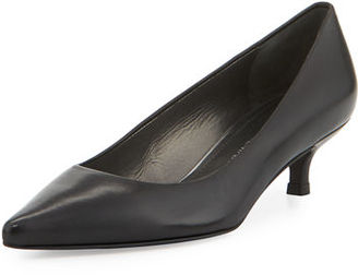 Stuart Weitzman Poco Leather Kitten-Heel Pump $365 thestylecure.com