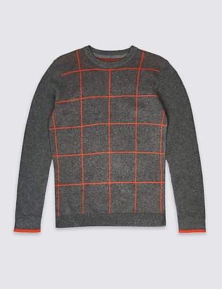 Marks and Spencer Pure Cotton Checked Sweatshirt (3-16 Years)