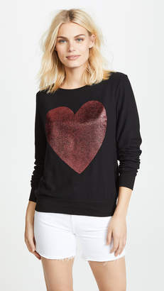 Wildfox Couture Sparkle Heart Baggy Beach Pullover