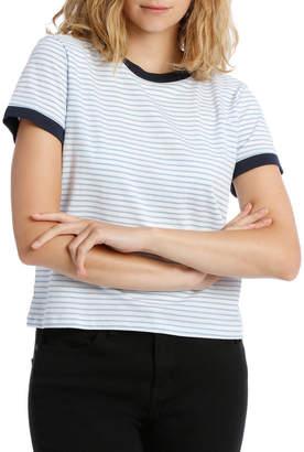 Miss Shop Contrast Neck Bind Ringer Tee - Soft Blue /White Stripe/Navy Contrast Neck Band