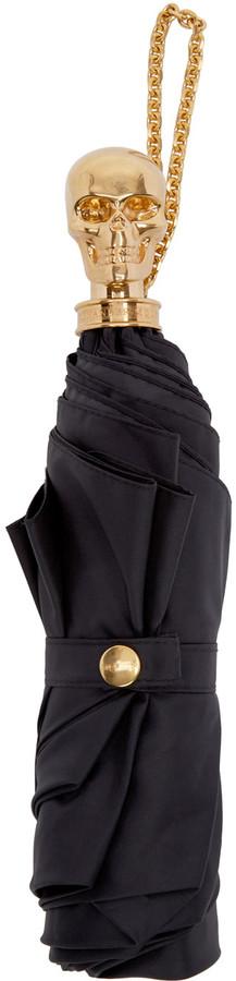 Alexander McQueenAlexander McQueen Black Skull Compact Umbrella