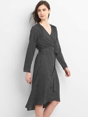 Gap Long sleeve print midi wrap dress