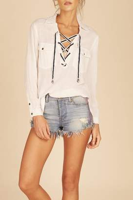 Vintage Havana Linen Lace-Up Shirt