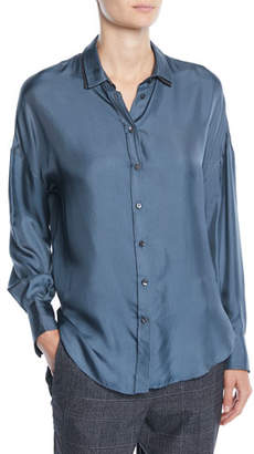 Brunello Cucinelli Button-Front Long-Sleeve Silk-Twill Blouse w/ Monili Under-Collar