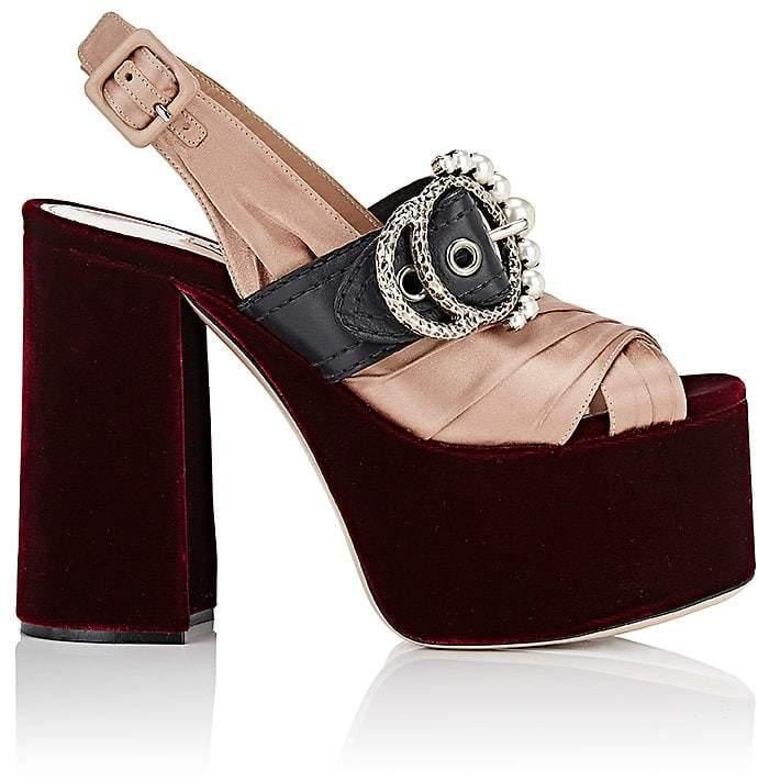 Miu Miu Women's Embellished-Buckle Satin & Velvet Sandals