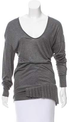 Tomas Maier Pleat-Accented Long Sleeve Top