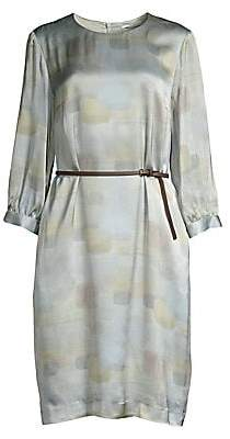Peserico Women's Tile Pattern Belted Satin Tunic Dress