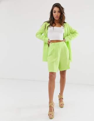 Asos Design DESIGN linen suit mom shorts in lime pop