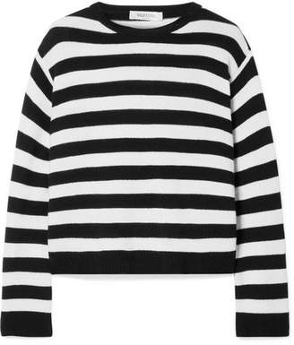 Valentino Wrap-effect Bow-embellished Striped Cashmere Sweater - Black