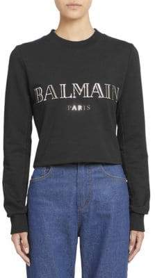 Balmain Long-Sleeve Logo Crop Top