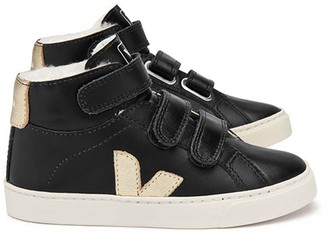 VEJA Fur-lined Leather Velcro Esplar Mid High Top Trainers $120 thestylecure.com