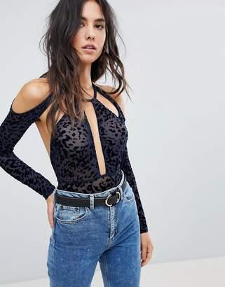 Asos DESIGN Melika Flocked Animal Print Long Sleeve bodysuit