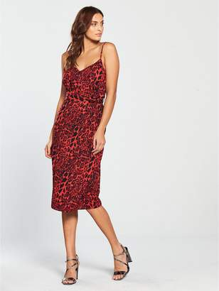 Girls On Film Strappy Tie Waist Midi Dress - Red Leopard Print