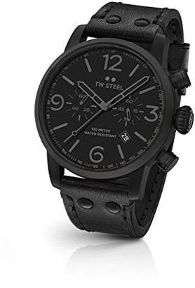 TW Steel 'Maverick' Quartz Stainless Steel and Leather Dress Watch