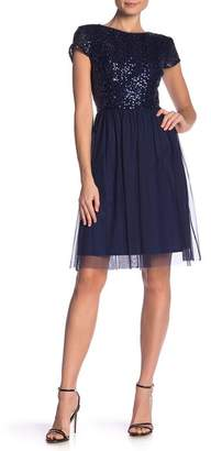 Marina Short Sleeve Sequin Mesh Dress