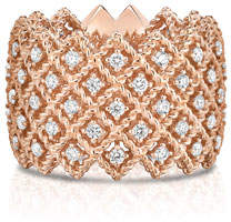Roberto Coin Barocco Five-Row Ring with Diamonds in 18K Rose Gold, Size 6.5