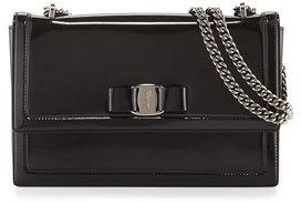 Salvatore Ferragamo Ginny Medium Patent Shoulder Bag, Nero $1,190 thestylecure.com