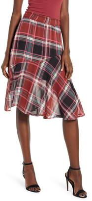 Vero Moda Nora Plaid Asymmetrical Ruffle Skirt