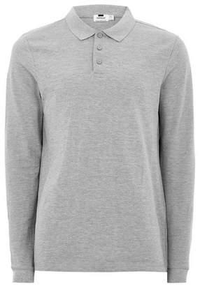 Topman Mens Grey Gray Long Sleeve Muscle Polo